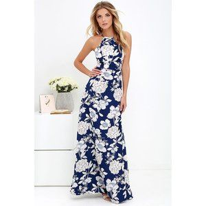 Lulu's In Blossom Blue Floral Print Maxi Dress M